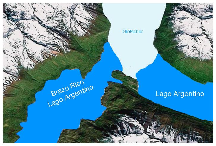 Patagonientour, Grafik: Lago Argentino, Brazo Rico ...